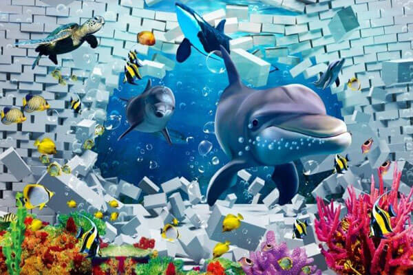 Ảnh galaxy 3D sea world dolphin print tapestry wall